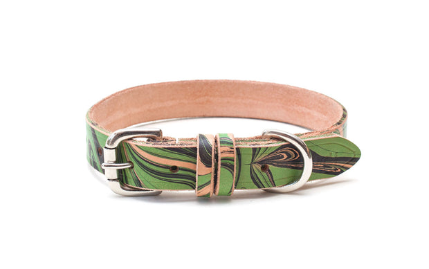handmade patterned leather collar with buckle and D ring