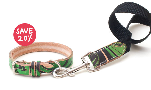 green and black leather dog collar + black webbing lead to match