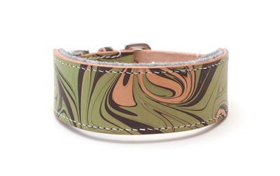 Style Sleepyhead, green and brown leather Sighthound collar