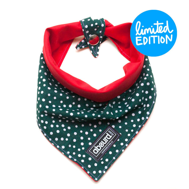 winter festive reversible dog bandana, press stud or tie knot