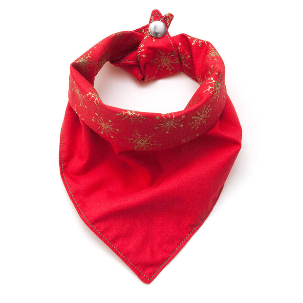 reversible bandana showing red side and snap button