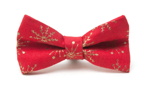 Red and gold dog bow tie: Snowflake