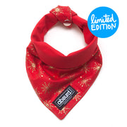 festive red and gold reversible fabric dog bandana