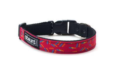 red neoprene dog collar with screen printed colourful design