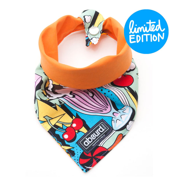 Press stud fastening on colourful reversible dog bandana