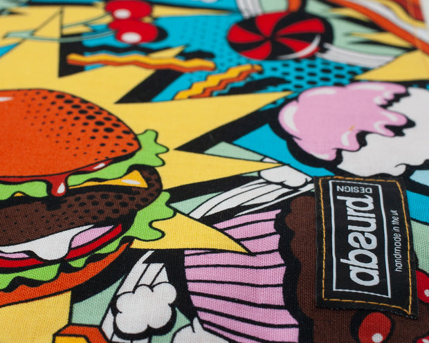 funky colourful food pattern of Sweet Tooth dog bandana