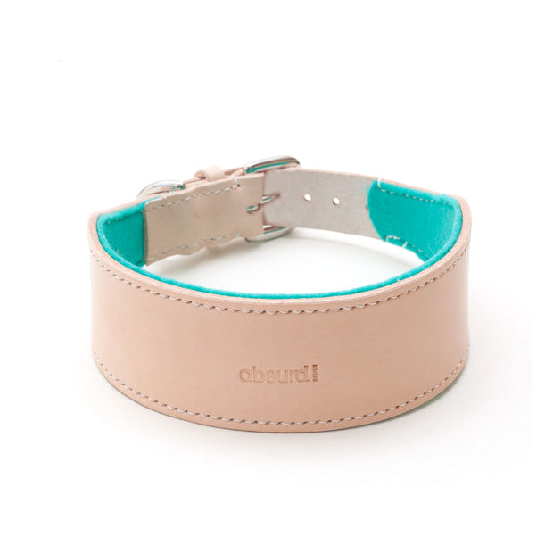 Natural leather hound collar with teal felt lining