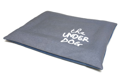modern grey denim reversible dog cushion showing quirky saying