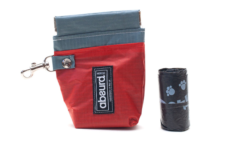 Upcycled Dog Poop Bag Holder & Dog Treat Bag: Red