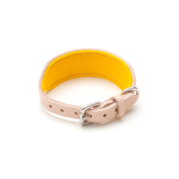 leather sighthound collar with buckle and yellow felt lining