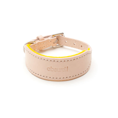 Natural leather hound collar with yellow felt lining