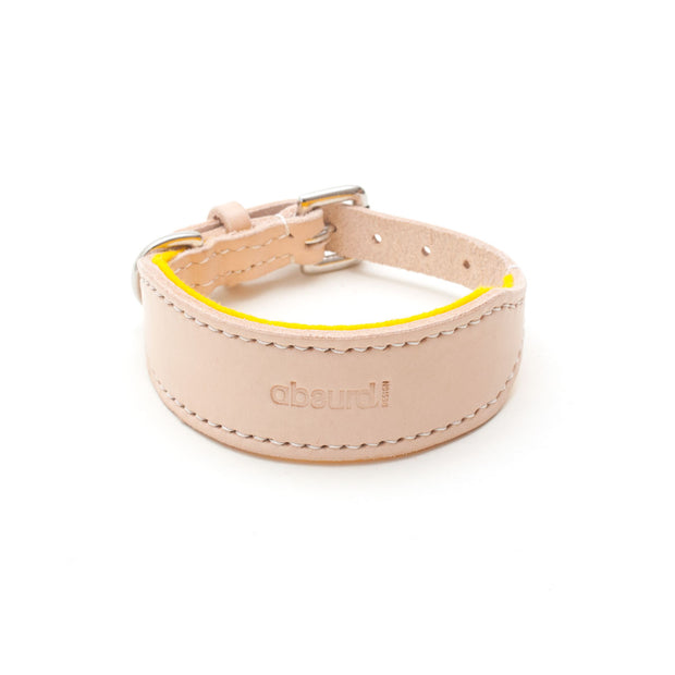 Natural Leather Hound Collar: Yellow Felt