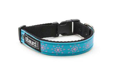 turquoise blue neoprene dog collar with pink design