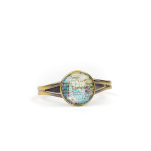 Open image in slideshow, Navigator Handmade Map Cuff Bracelet