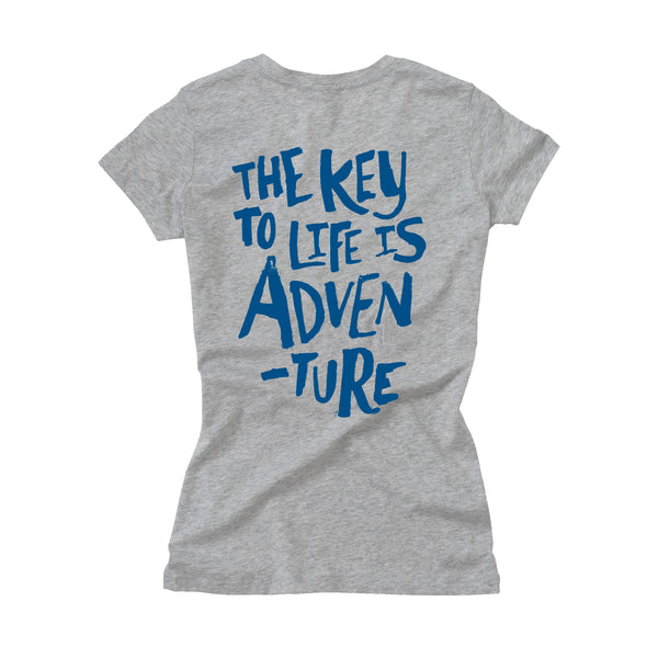 Ladies Key to Life V-Neck - Grey