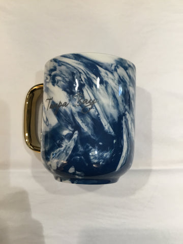 Tampa Bay Marbled Mug-Gold Handle