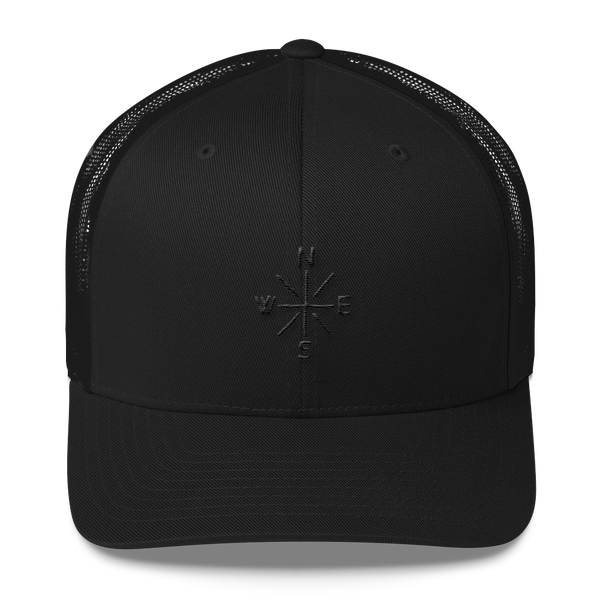 Compass Trucker Hat Black