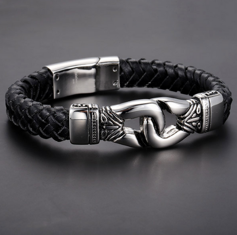 Stainless Steel Aztec Braided Leather Bracelet