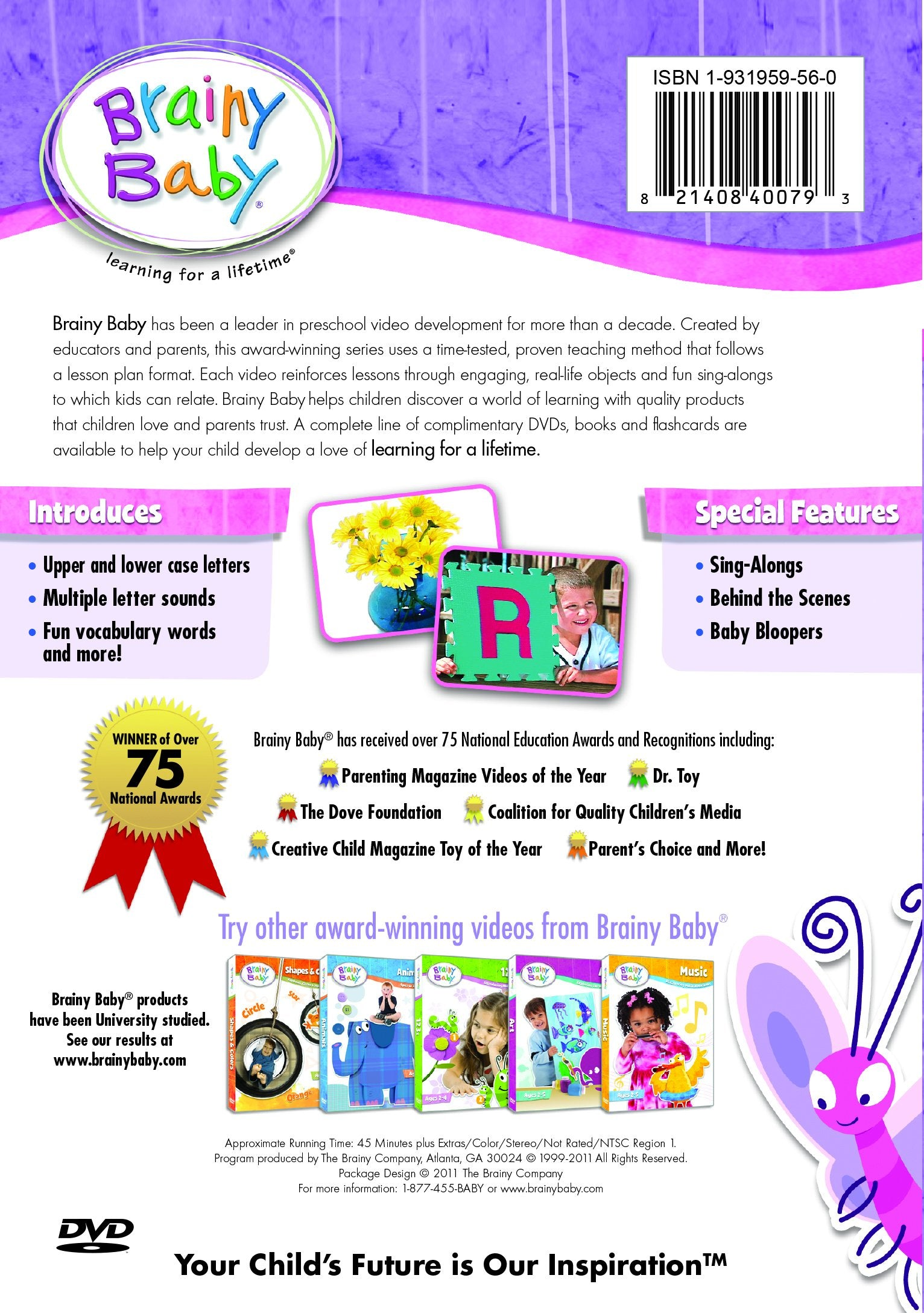 Brainy Baby ABCs DVD Introducing the Alphabet A to Z Deluxe Edition Back Cover