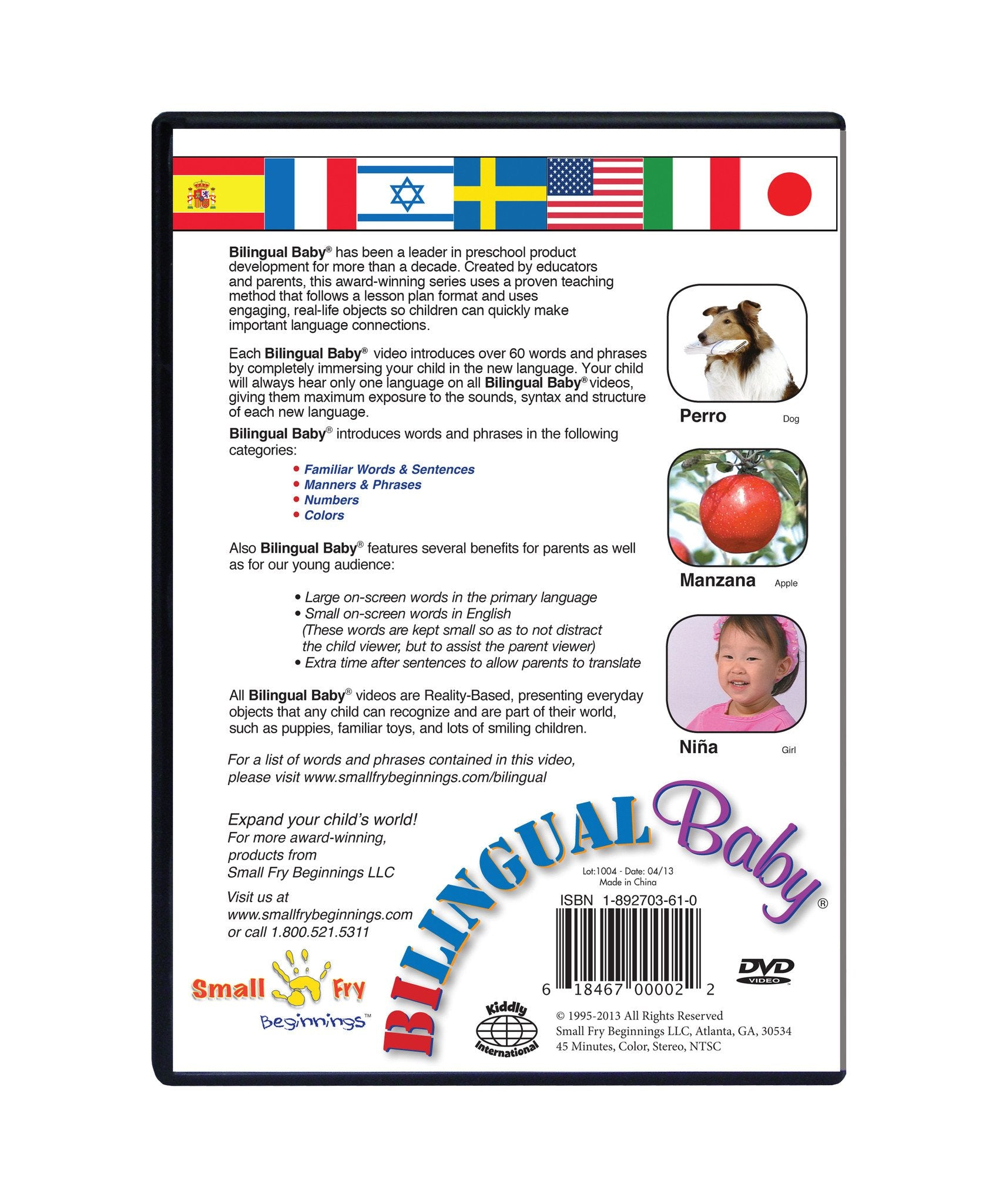 Bilingual Baby® Learn Spanish, English & French Total Immersion 3 DVD Set for Babies and Toddlers