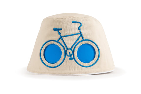COOEEE Blue Bike Sunglasses Hat Tan and Blue with Blue Lenses by Boomerang Baby