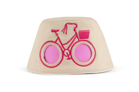 COOEEE Pink Bike Sunglasses Hat Tan and Pink with Pink Lenses by Boomerang Baby