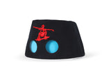 COOEEE Skater Sunglasses Hat Black and Red with Blue Lenses by Boomerang Baby