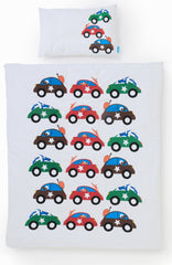 EGGKIDS CARS Bedset Crib/Duvet Cover and Pillowcase 100% Organic Cotton