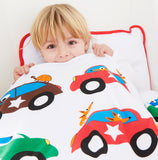 EGGKIDS CARS Bedset Crib/Duvet Cover and Pillowcase 100% Organic Cotton Child