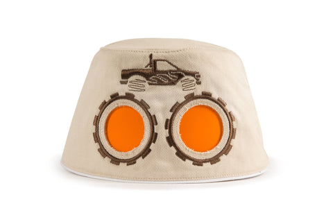 COOEEE Monster Truck Sunglasses Hat Tan and Brown with Orange Lenses by Boomerang Baby