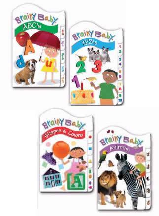 Brainy Baby Classic Tab Board Book Set of 4 - ABCs, 123s, Animals, Shapes and Colors