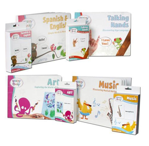 Brainy Baby Preschool Learning For a Lifetime Enrichment Collection of 4 Books & 4 Flashcards Deluxe Edition
