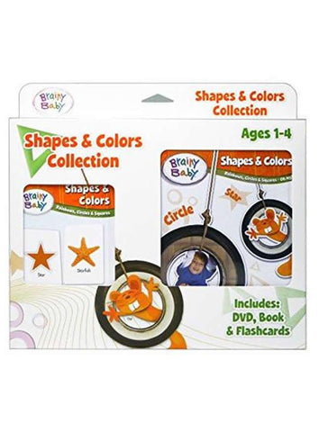 Brainy Baby® Shapes & Colors Rainbows, Circles and Squares Board Book, Flashcards & DVD Collection for Preschool Children