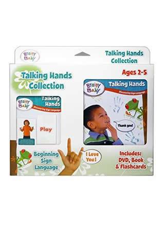 Brainy Baby® Talking Hands Discovering Sign Language Board Book, Flashcards & DVD  Collection for Preschool Children