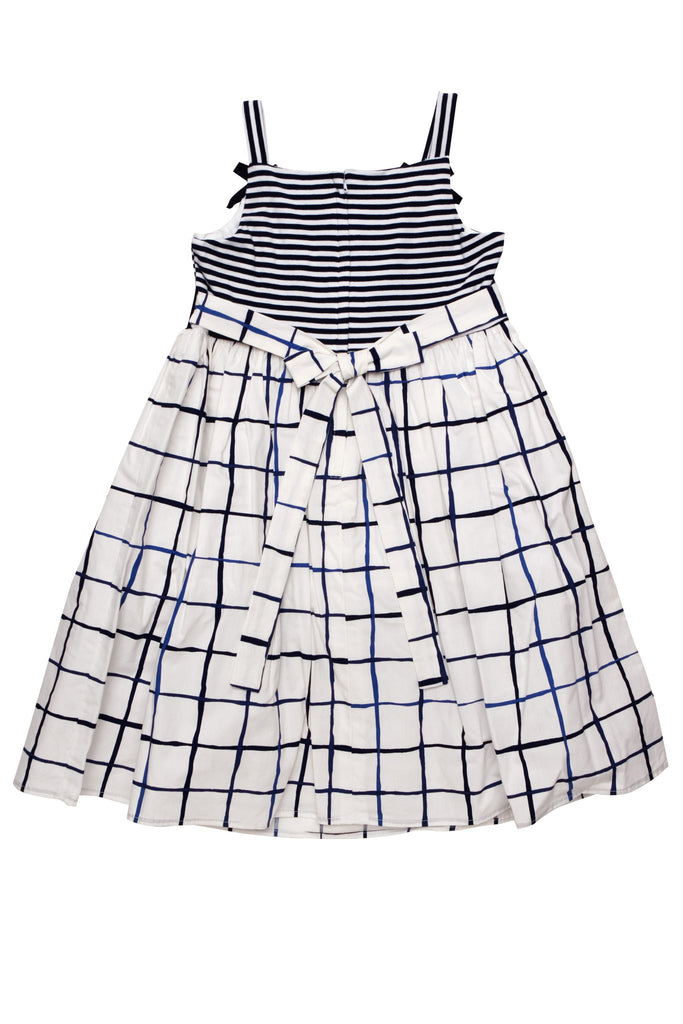 Biscotti Alfresco  Navy Dress With Knit Bodice and Poplin Skirt