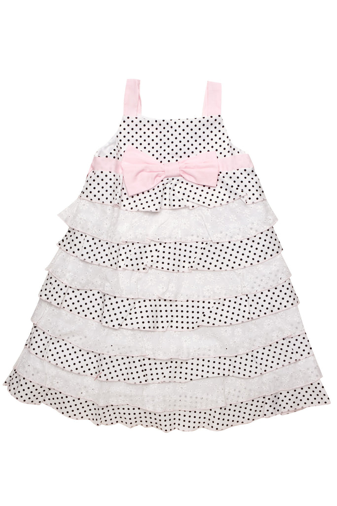 Biscotti Little Darling Black and White Polka Dot and Eyelet Dress