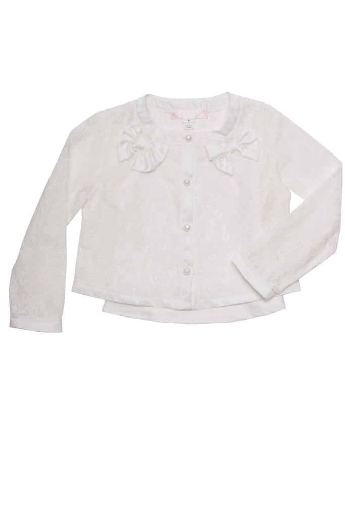 Biscotti Tea For Two Lace Jacket in Ivory