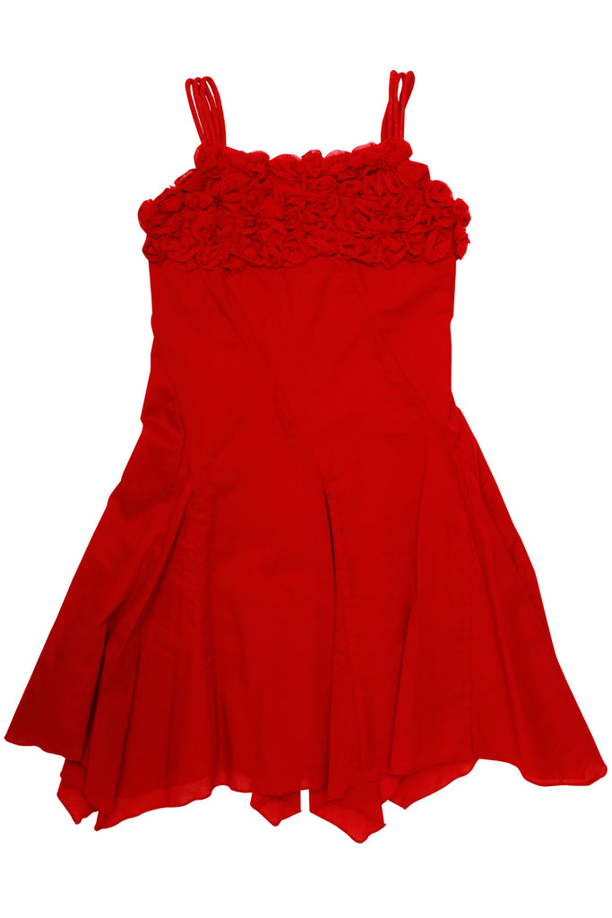 "Biscotti So Rosy Red Cotton Dress with ""Rose"" Covered Bodice"