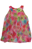 Biscotti Covered In Roses Print Chiffon Ruffle Dress in Multi