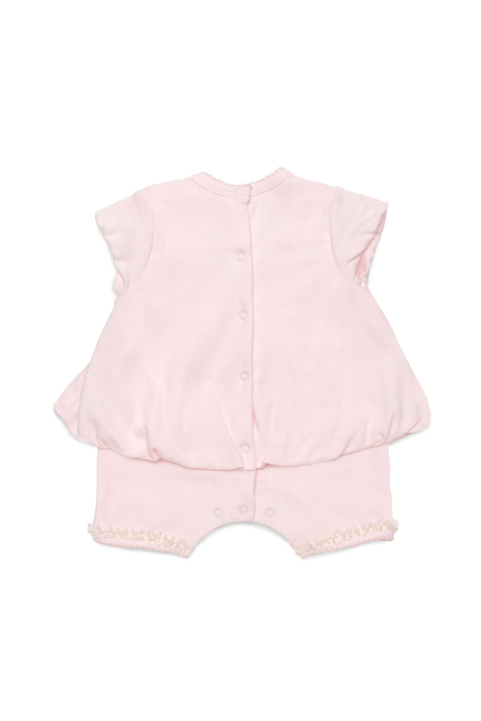 Biscotti Lace Lullaby Infant Bubble Hem Romper with Lace Details