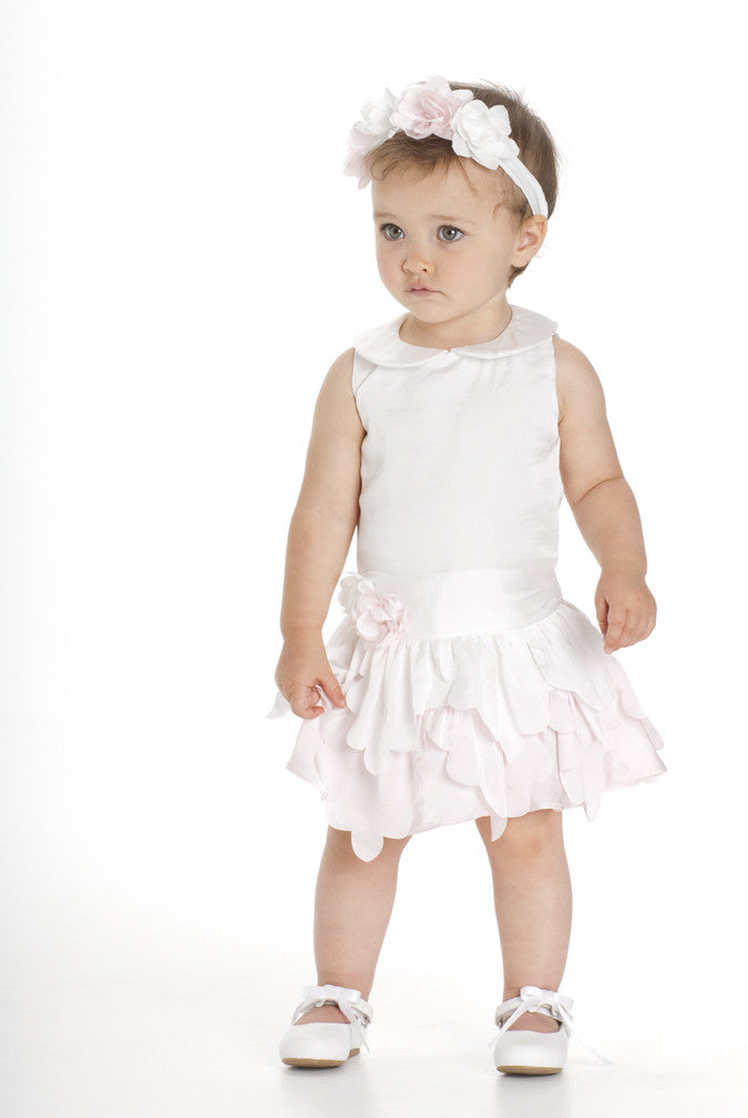 Baby Biscotti Drop Waist Birthday Girl Dress - Ivory