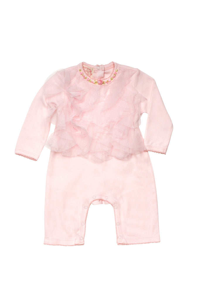 Baby Biscotti Rolling In Ruffles Long Sleeve Romper in Pink
