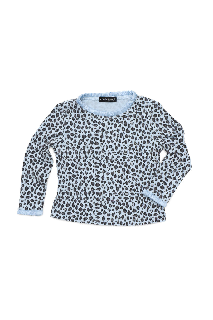 Kate Mack Born To Be Wild Print Long Sleeve Tee in Blue