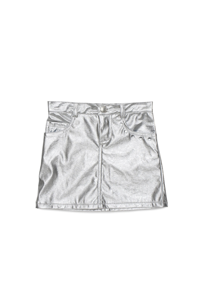 Kate Mack Born To Be Wild Pleather Skirt in Silver