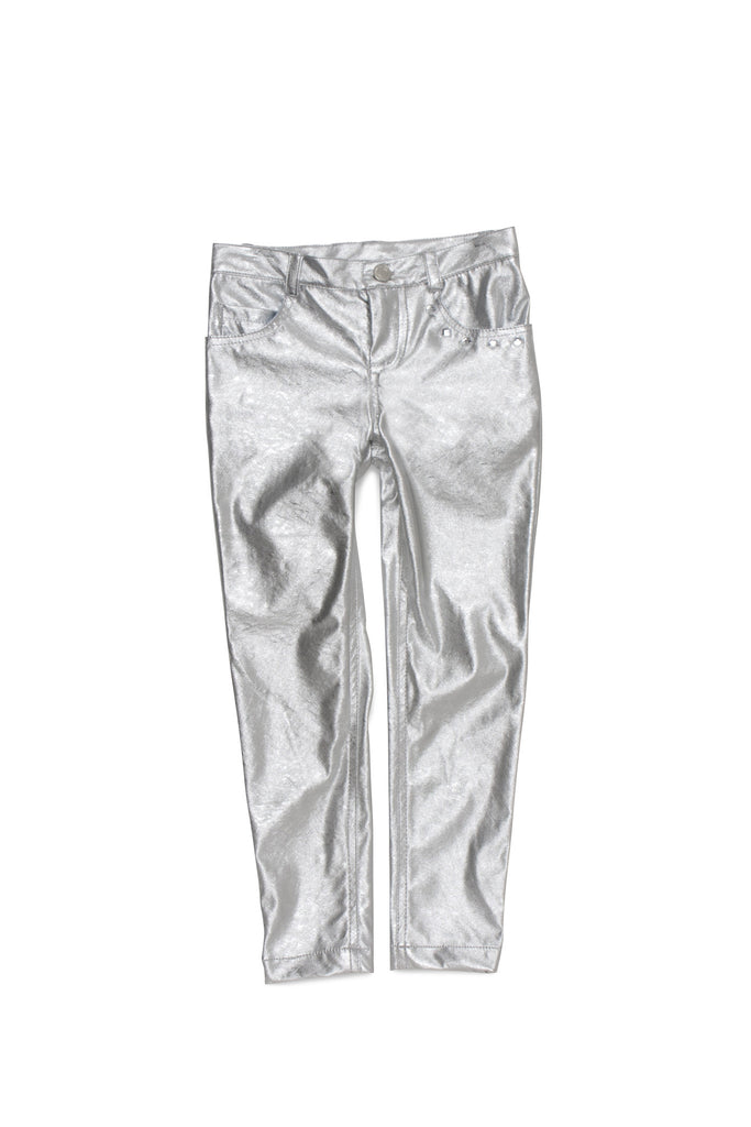 Kate Mack Born To Be Wild Pleather Pant in Silver