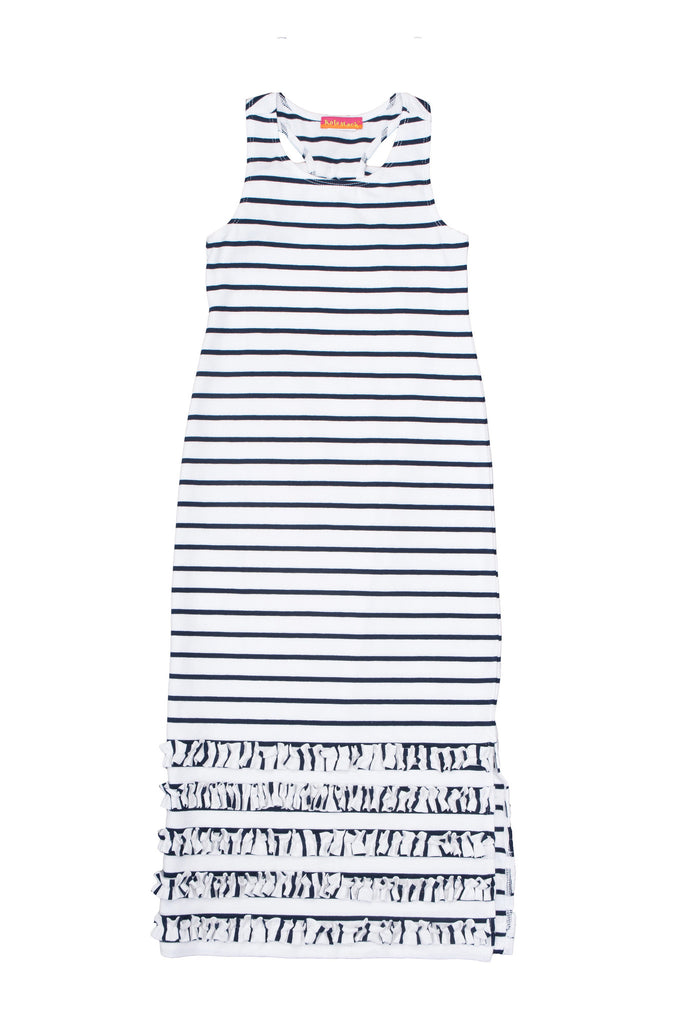 Kate Mack Seaside Petals Striped Knit Maxi Dress in White / Navy