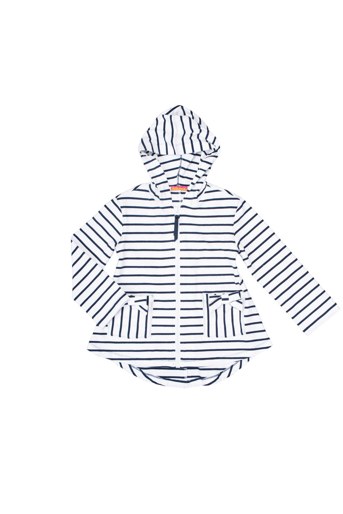 Kate Mack Seaside Petals Striped Knit Hoodie Cover-up in White / Navy