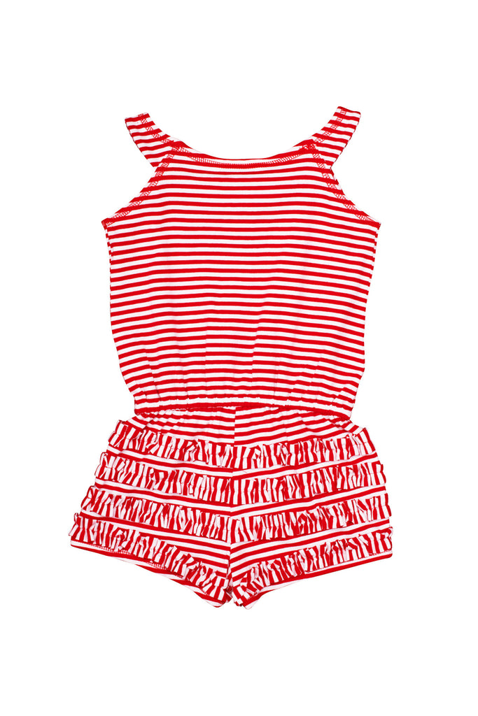 Kate Mack Red Regatta Striped Knit Romper in Red / White