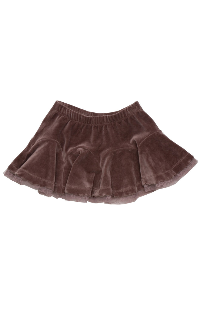 Kate Mack Swiss Mocha Velour Skirt in Cocoa
