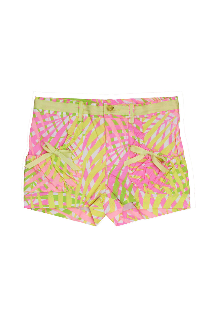 Kate Mack Palm Beach Palm Tree Print Poplin Short in Coral